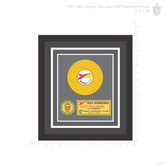 Y101 Cebu Country Club Junior Golf Tournament Platinum Vinyl Plaque 12.5