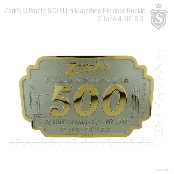 Zarks Ulimate 500 Ultra Marathon Finisher Race Buckle 2 Tone 4.65 inch x 3 inch