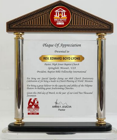 Bible Baptist Plaque of Appreciation