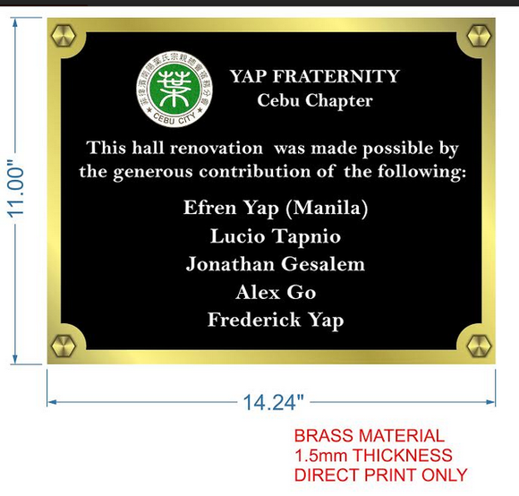 Yap Fraternity Brass Wall Signage