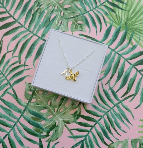 Personalised Bee initial necklace