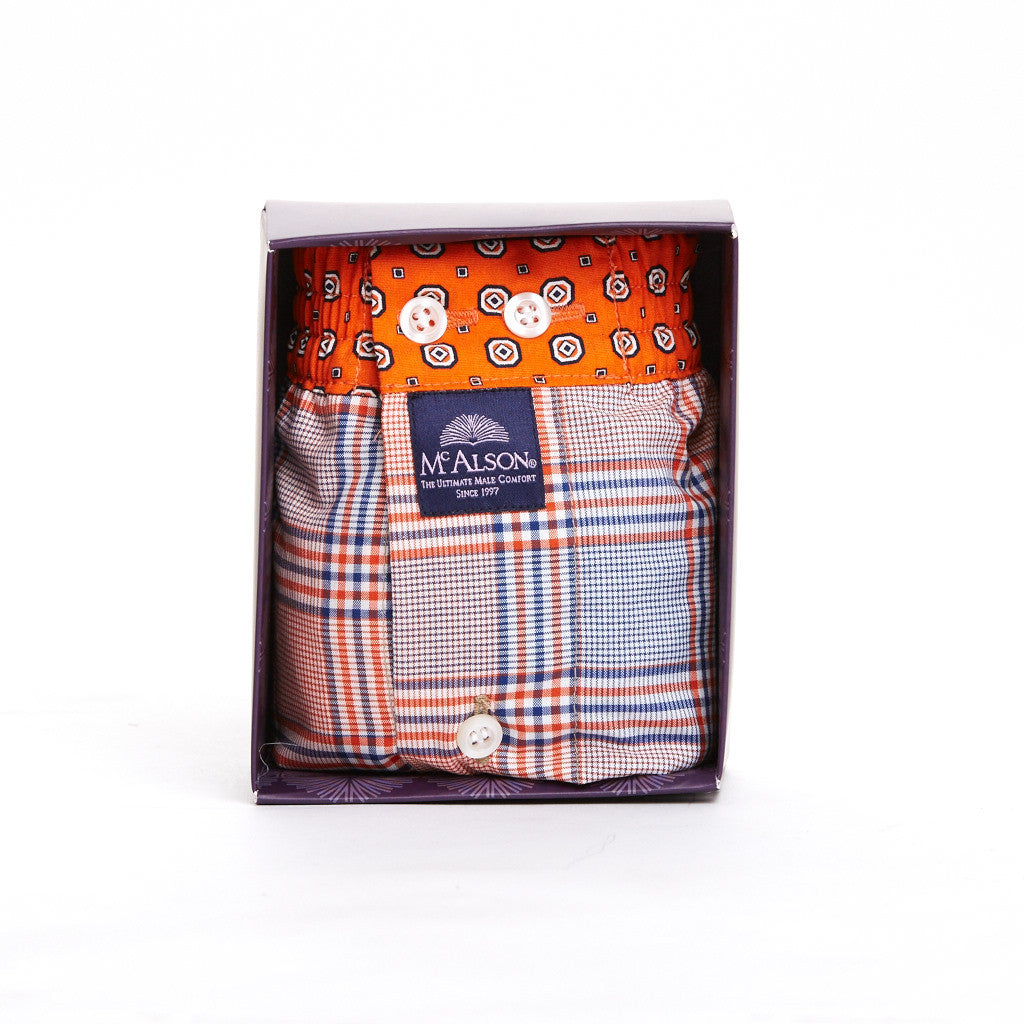 Checkered With Orange Print Waistband