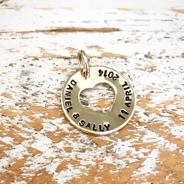 HAND STAMPED GOLD OPEN HEART PENDANT
