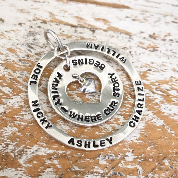 HAND STAMPED SILVER CIRCLE OF LOVE PENDANT