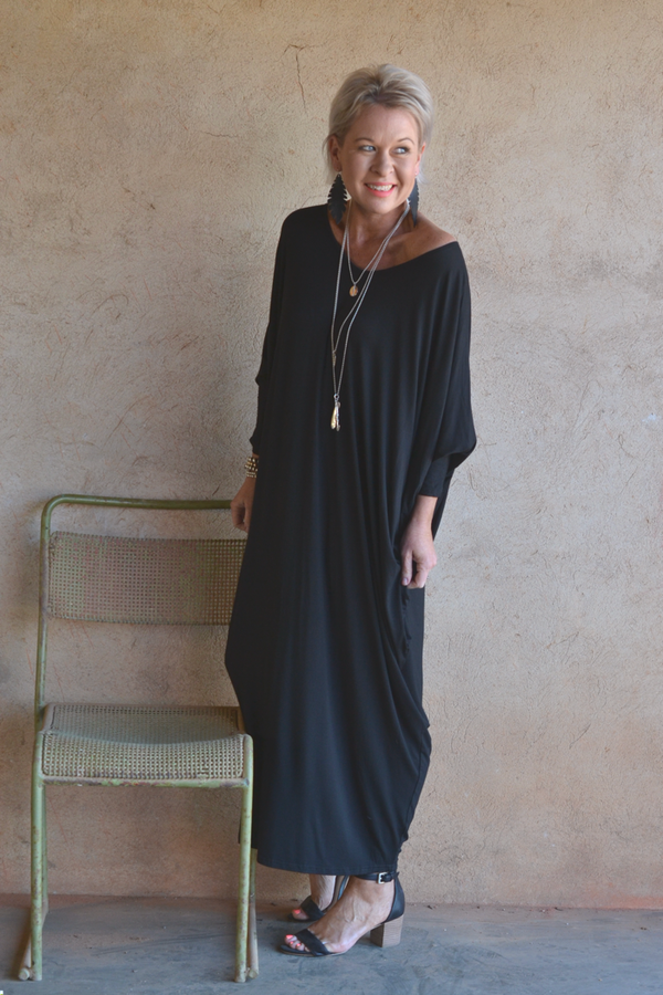 BLACK BAMBOO BATWING DRESS - LONG SLEEVED MAXI