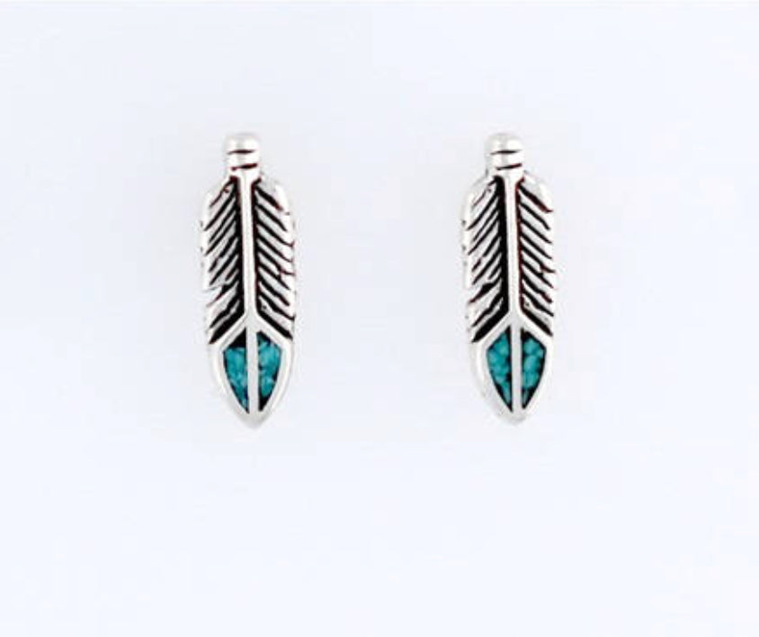 STERLING SILVER & TURQUOISE  FEATHER STUDS