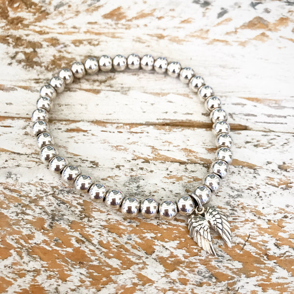 ALWAYS IN MY HEART SILVER BEADED BRACELET