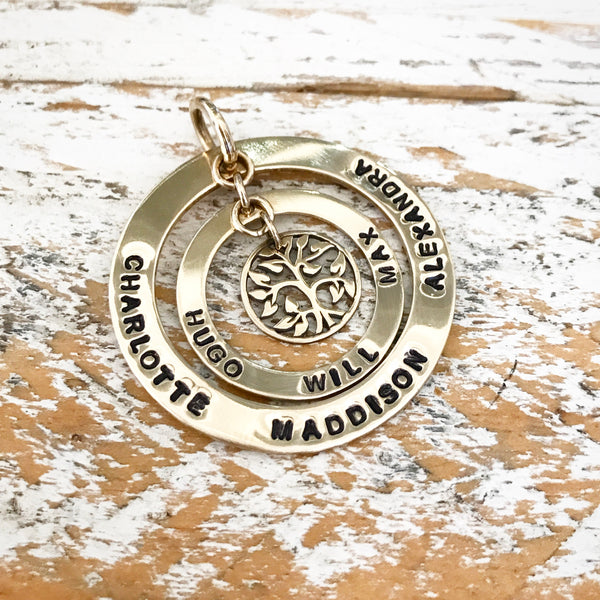 HAND STAMPED GOLD CIRCLE OF LIFE PENDANT