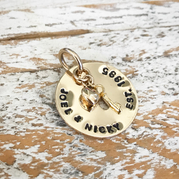 HAND STAMPED GOLD KEYHOLE PENDANT