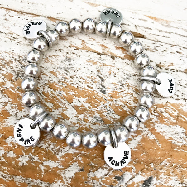 HAND STAMPED SILVER CIRCLE OF LOVE BEADED BRACELET