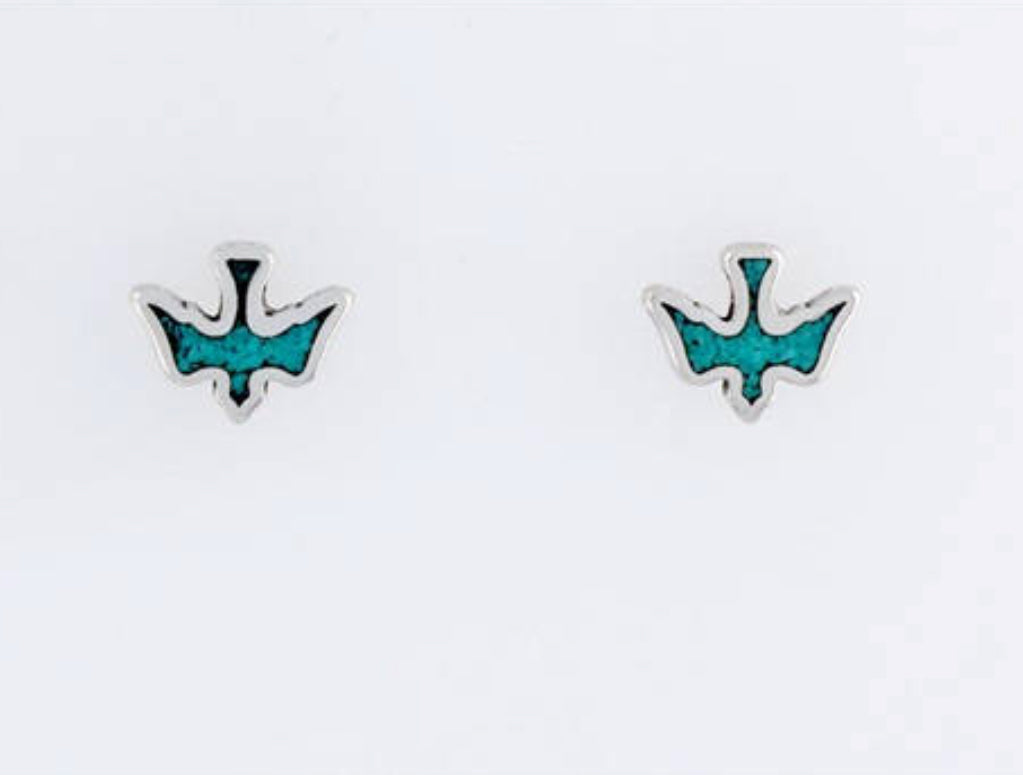 STERLING SILVER & TURQUOISE BIRDS IN FLIGHT STUDS