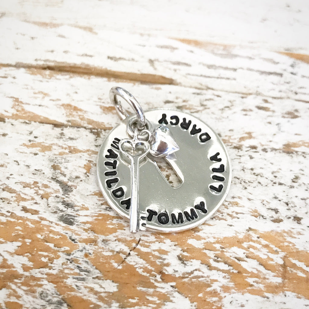 HAND STAMPED SILVER KEYHOLE PENDANT