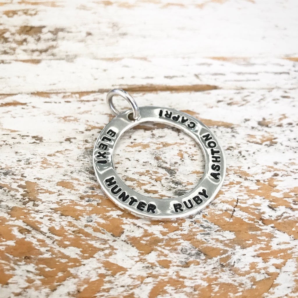 HAND STAMPED SILVER RING PENDANT