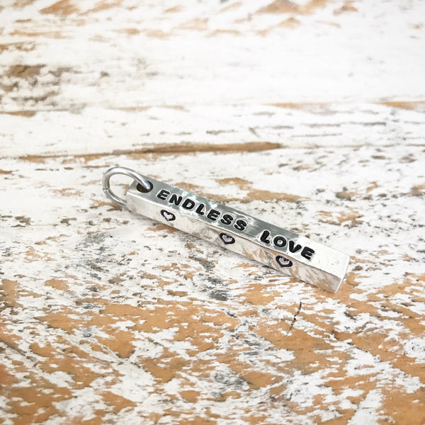 HAND STAMPED SILVER 4 SIDED BAR PENDANT