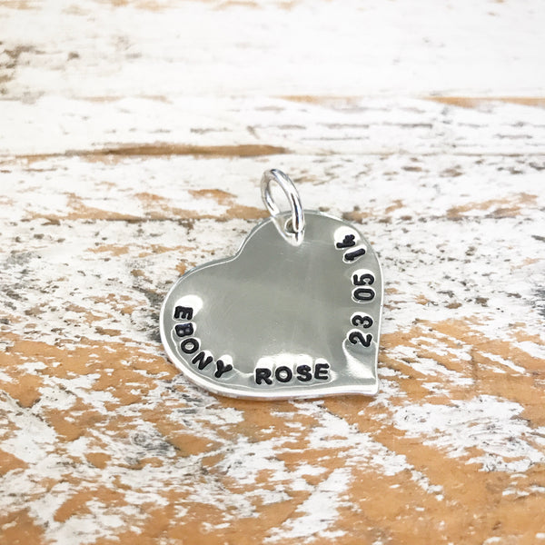 HAND STAMPED SILVER LOVE PENDANT