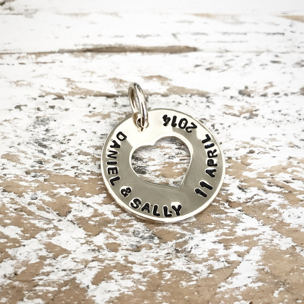 HAND STAMPED SILVER OPEN HEART PENDANT
