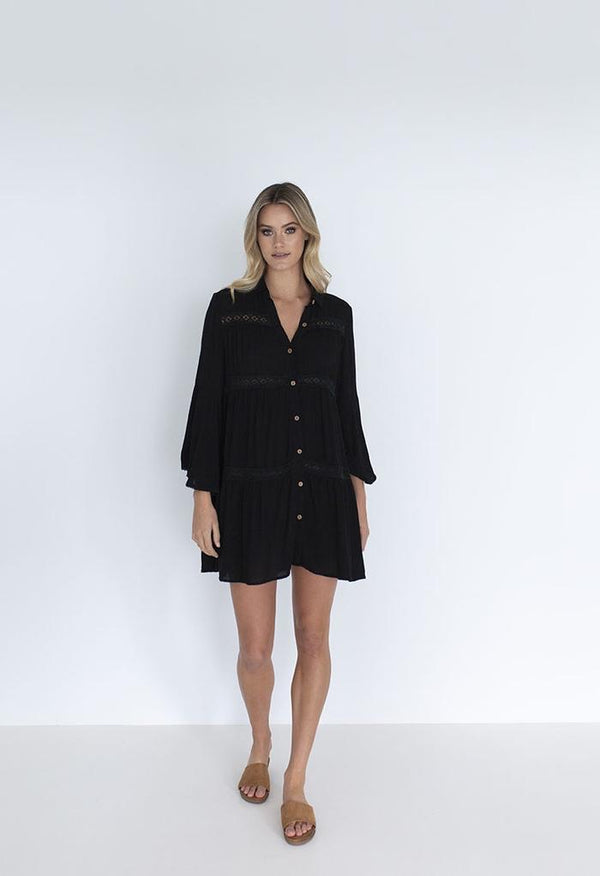 AVISA SHIRT DRESS - BLACK