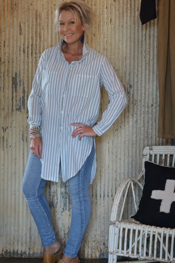 STRIPED LAYERING SHIRT - PALE GREEN/WHITE