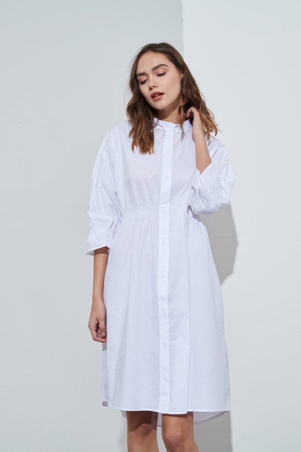 SHIRTING DETAIL DRESS - WHITE