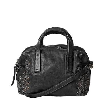 ROZALIA EYELET BAG - BLACK