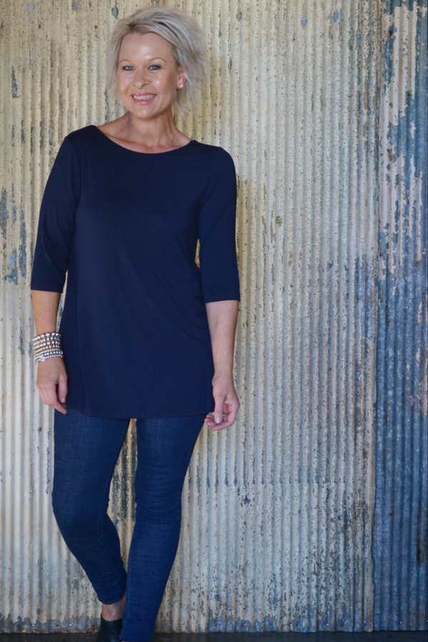 ARETHA TOP - NAVY