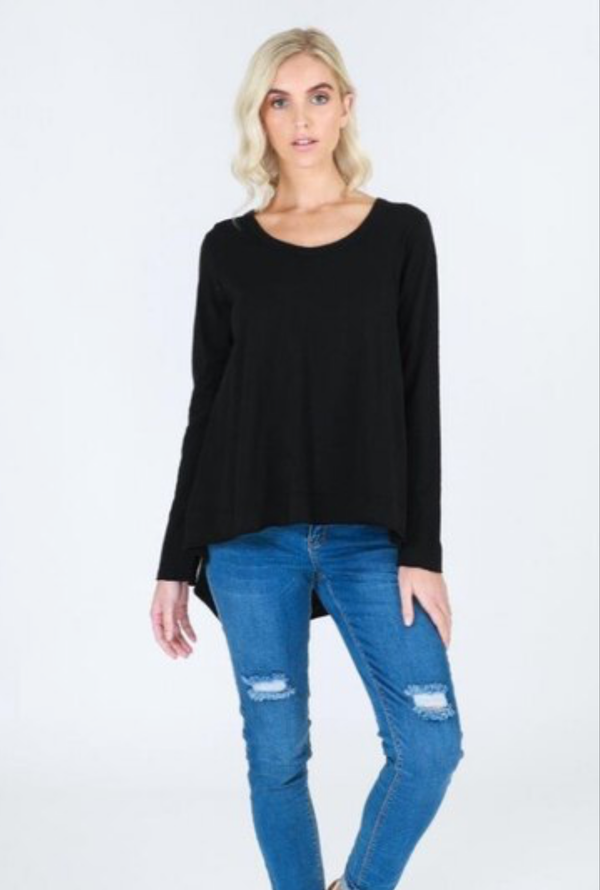WILLOW LONG SLEEVED TEE - BLACK