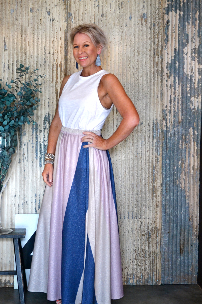 SHIMMER MAXI SKIRT - MUSK, CREAM, NAVY