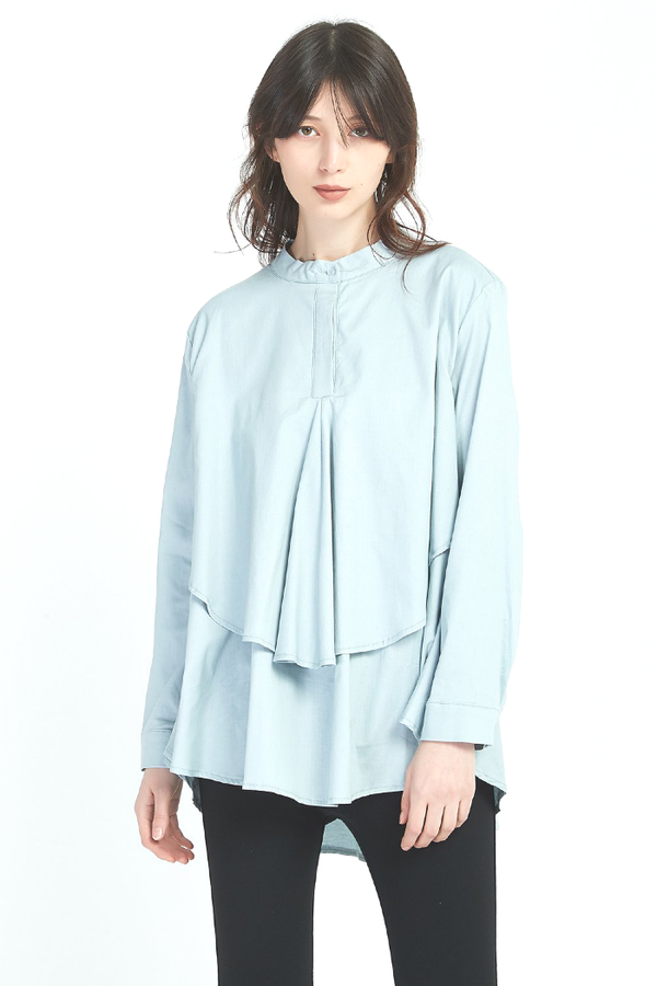 TUCK LAYER SHIRT - DUSTY BLUE