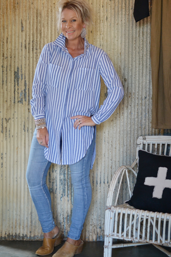 STRIPED LAYERING SHIRT - BLUE/WHITE