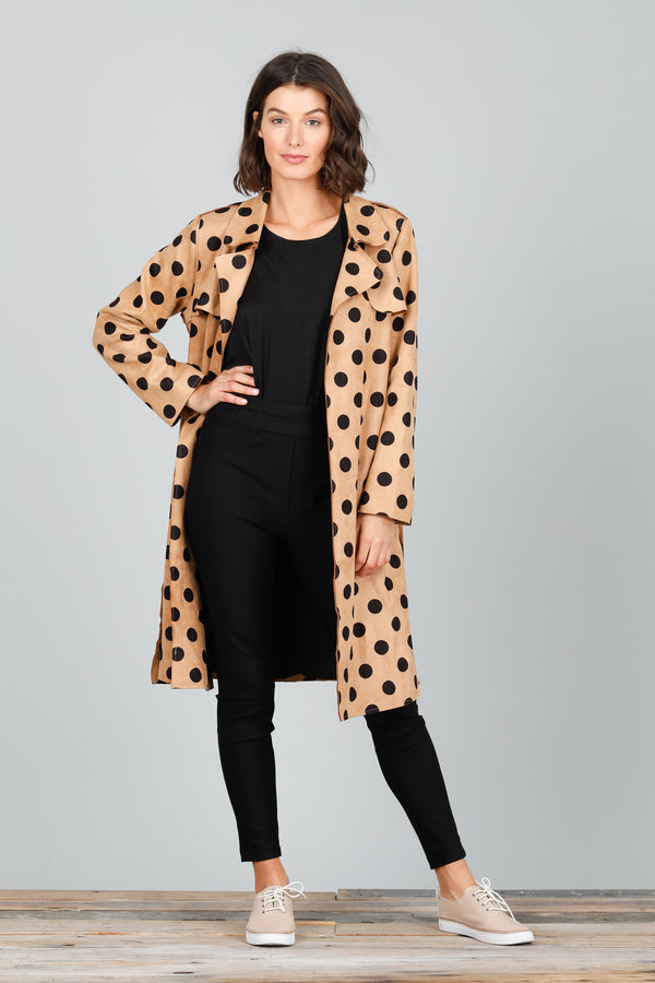 SAFARI TRENCH COAT - TAN WITH BLACK SPOT