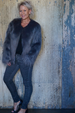 FAUX FUR JACKET - CHARCOAL