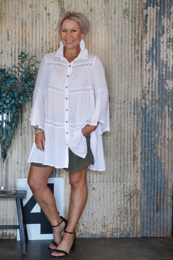 AVISA SHIRT DRESS - WHITE