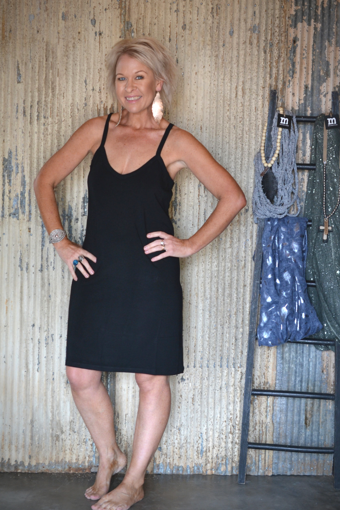 KELLY SLIP DRESS - BLACK