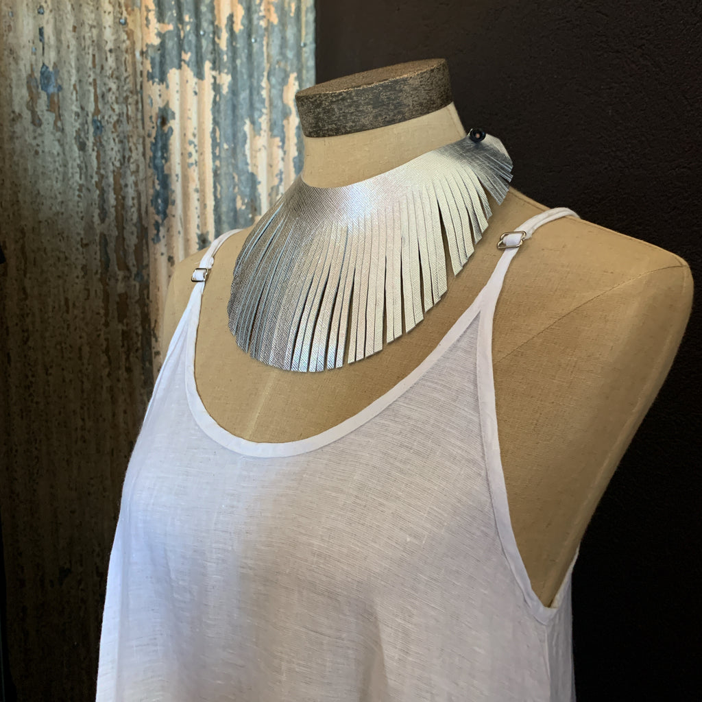 FELICITY FRINGED COLLAR NECKLACE -  TEXTURED SILVER