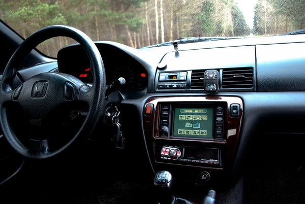 Honda Prelude interior with JDM navigation system