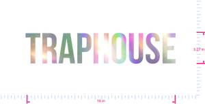 Text Traphouse Vinyl custom lettering decal/3.27 x 16 in/ OilSlick Chrome /