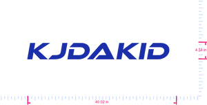 Text KJDAKID  Vinyl custom lettering decal/4.34 x 40.02 in/ Brilliant Blue /
