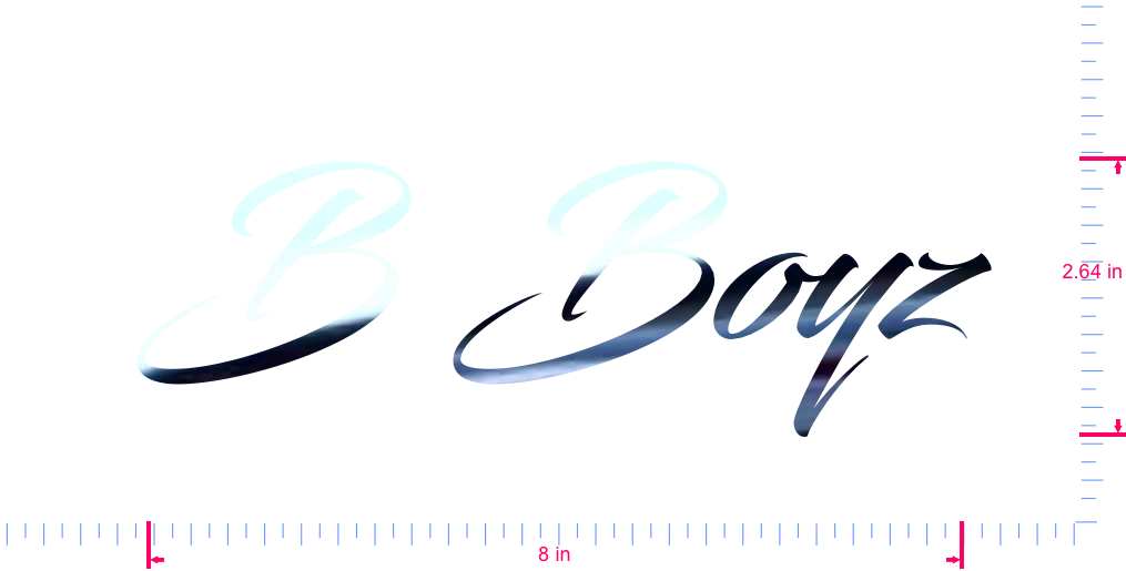 Text B Boyz Vinyl custom lettering decal/2.64 x 8 in/ Mirror Chrome /