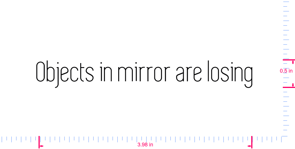 Text Objects in mirror are losing Vinyl custom lettering decall/0.5 x 3.98 in/ Black /