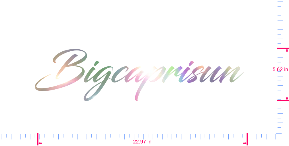 Text Bigcaprisun  Vinyl custom lettering decal/5.62 x 22.97 in/ OilSlick Chrome /