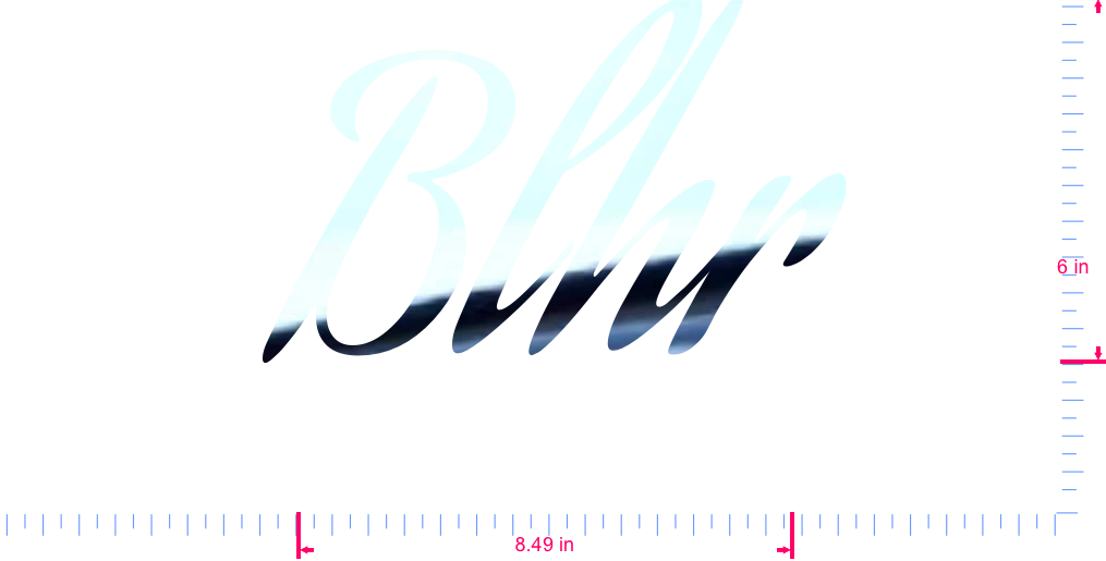 Text Blhr Vinyl custom lettering decal/6 x 8.49 in/ Mirror Chrome /