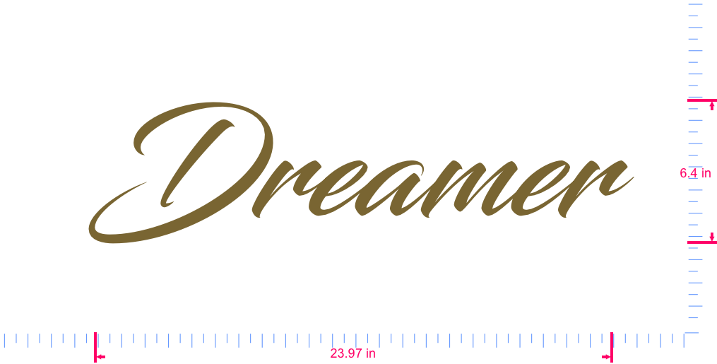 Text Dreamer Vinyl custom lettering decal/6.4 x 23.97 in/ Gold /