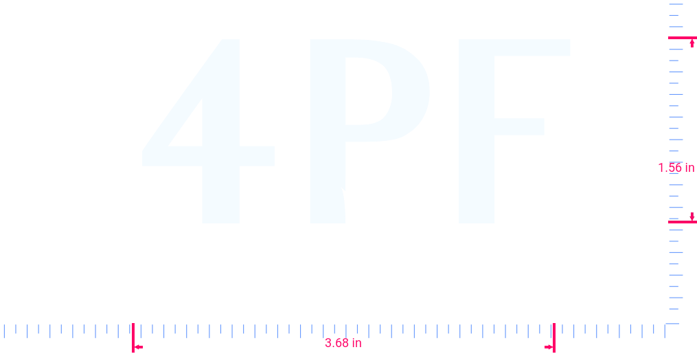 Text 4PF Vinyl custom lettering decal/1.56 x 3.68 in/ White /