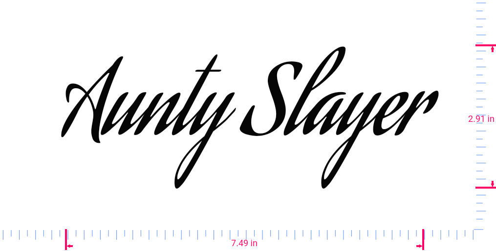 Text Aunty Slayer Vinyl custom lettering decall/2.91 x 7.49 in/ Black /