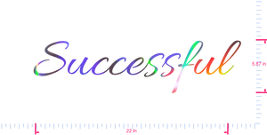 Text Successful Vinyl custom lettering decall/5.87 x 22 in/ OilSlick Chrome /