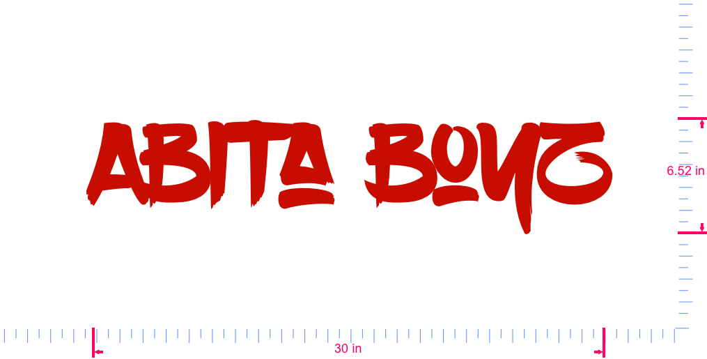 Text Abita Boyz Vinyl custom lettering decal/6.52 x 30 in/ Red /