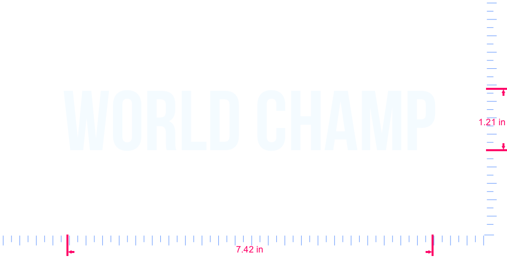 Text World champ Vinyl custom lettering decall/1.21 x 7.42 in/ White /