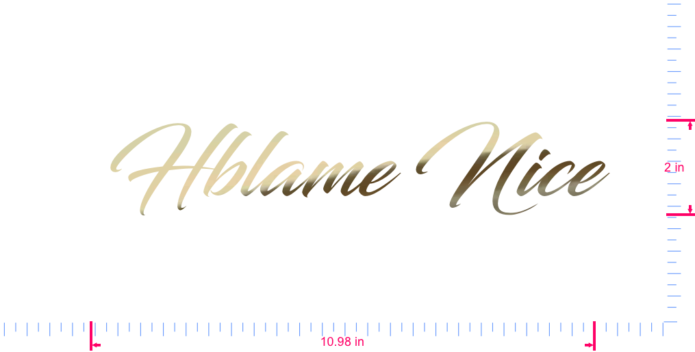 Text  Hblame Nice Vinyl custom lettering decal/2 x 10.98 in/ Gold Chrome /