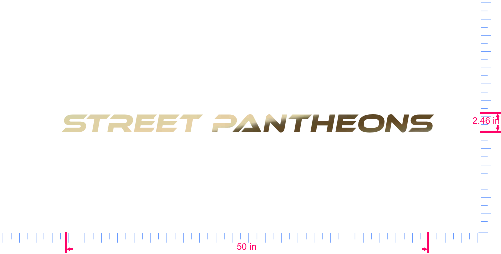 Text Street Pantheons Vinyl custom lettering decal/2.46 x 50 in/ Gold Chrome /