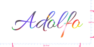 Text Adolfo Vinyl custom lettering decall/8.97 x 23.14 in/ OilSlick Chrome /